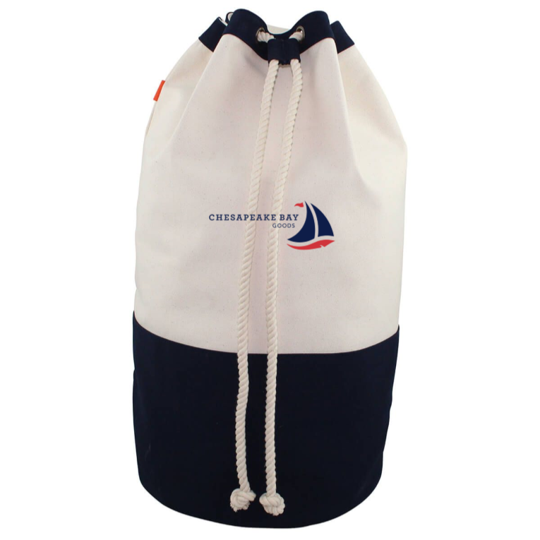 Navy Canvas Laundry Duffel - Chesapeake Bay Goods