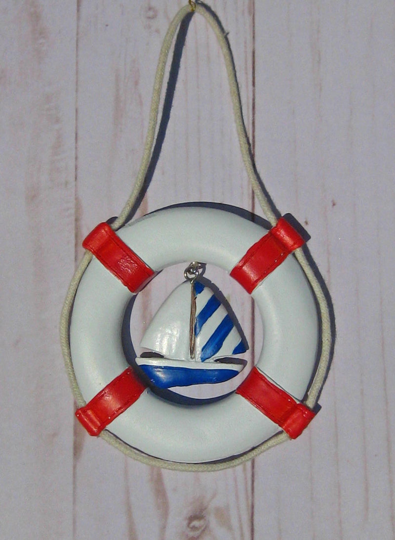 Life Ring with Sailboat Ornament