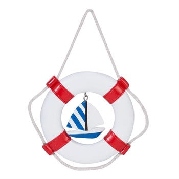 Nautical Life Preserver with Sailboat Christmas Ornament Chesapeake Bay Goods