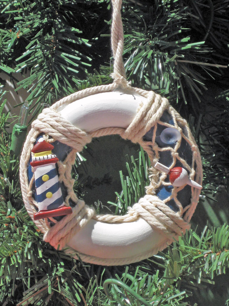 Life Preserver Wooden Christmas Ornament Set