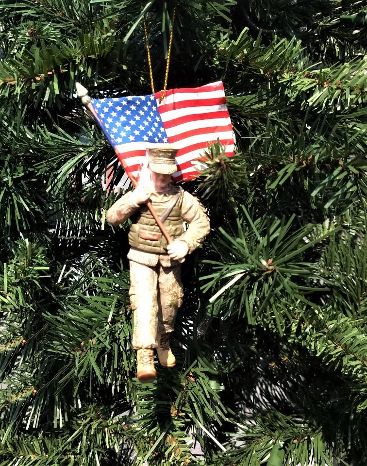 Marine Corps® Soldier with American Flag Christmas Ornament