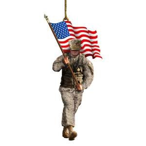 Marine Soldier with American Flag Christmas Ornament