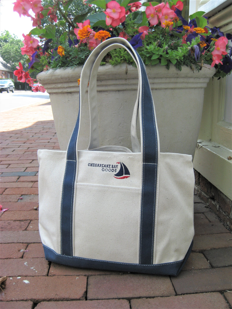 Medium Navy Canvas Boat Tote Chesapeake Bay Goods