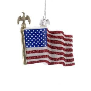 Patriotic American Flag Glass Ornament