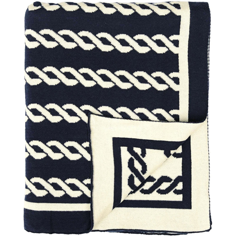Beach Stripes Cotton Throw (Navy and Red)