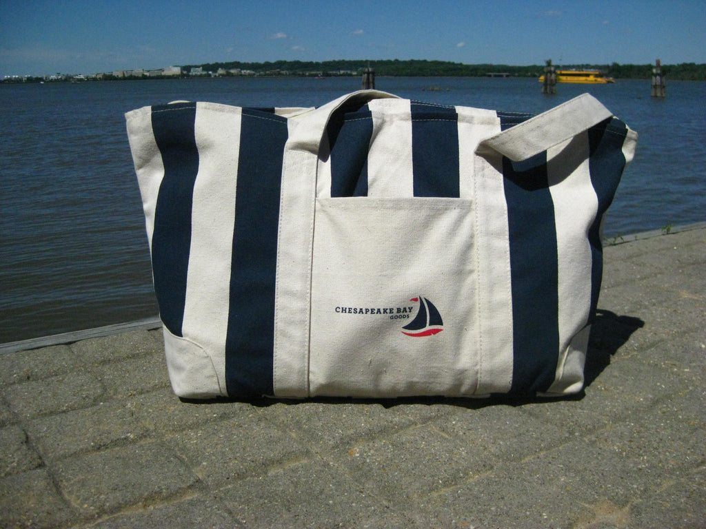 Navy Striped Nautical Canvas Tote