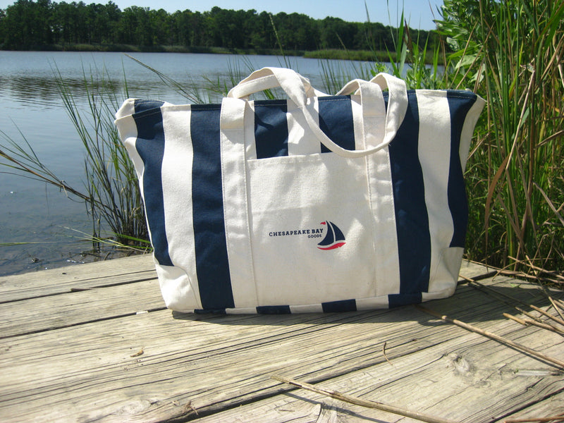 Large Navy Striped Beach Canvas Tote - Chesapeake Bay Goods