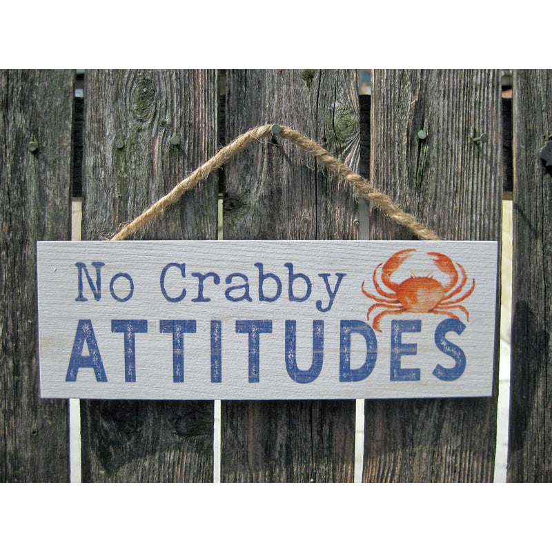 Wooden String Sign:  No Crabby Attitudes - Chesapeake Bay Goods
