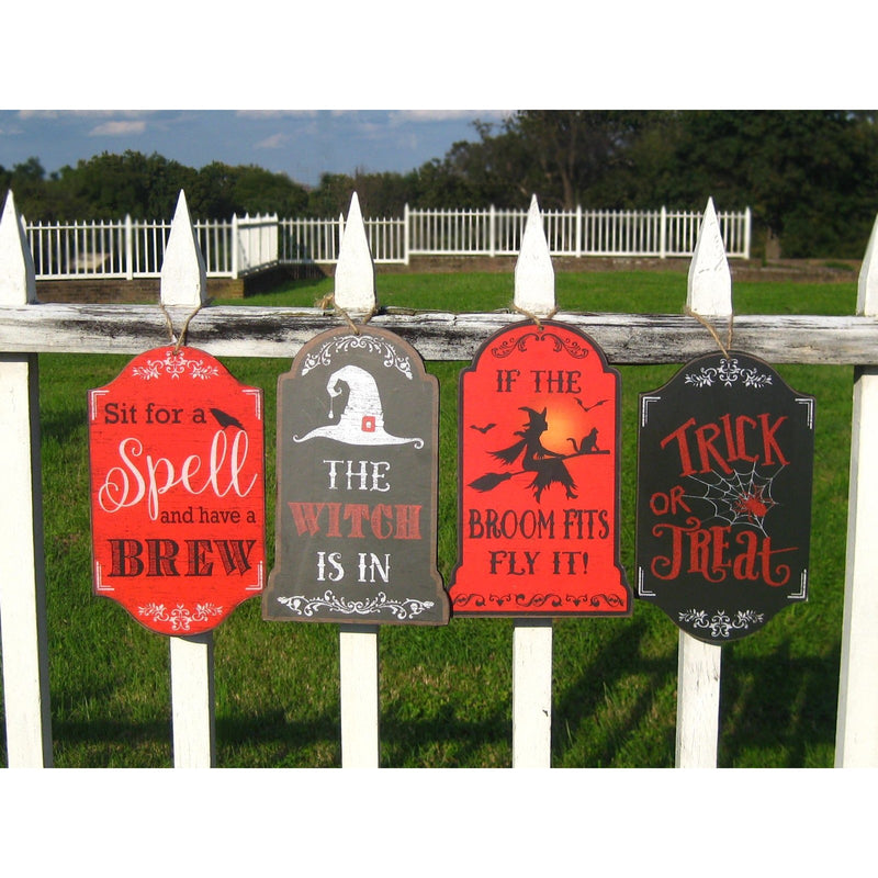 Witch Wood Halloween Decor Hanger Set of 4 - Chesapeake Bay Goods