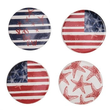 American Flag Patriotic Pallet Coaster 4-Pack