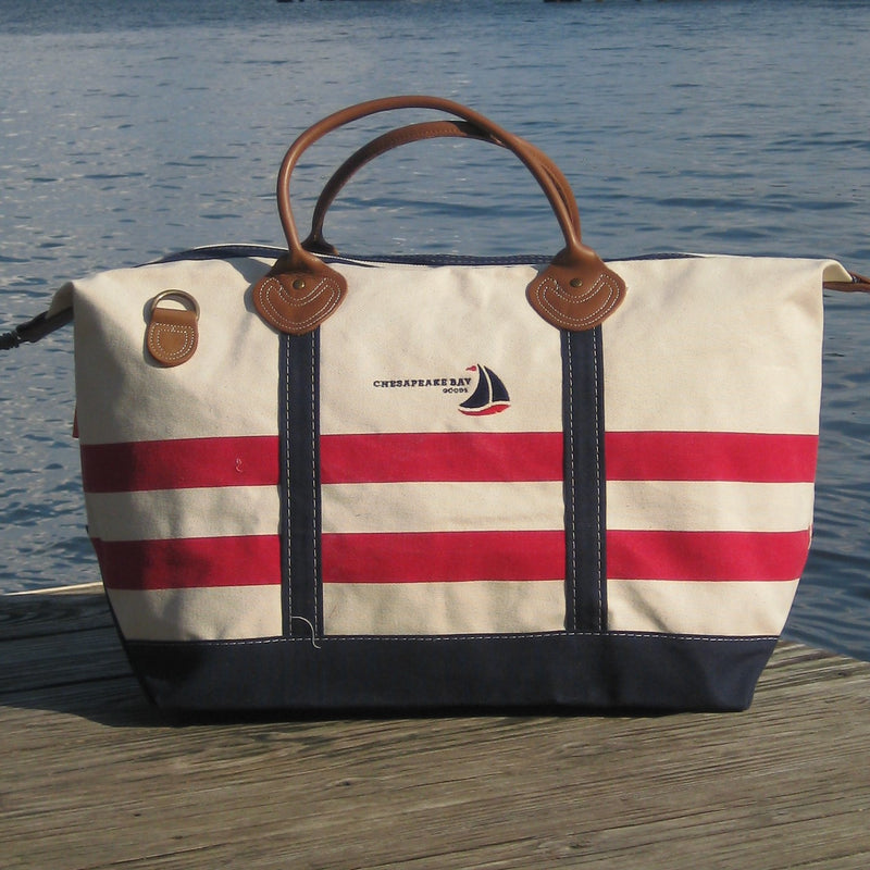 Red, White, Blue Striped Canvas Weekender Tote Bag - Chesapeake Bay Goods