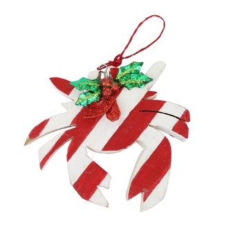 Red and White Striped Wood Crab Ornament