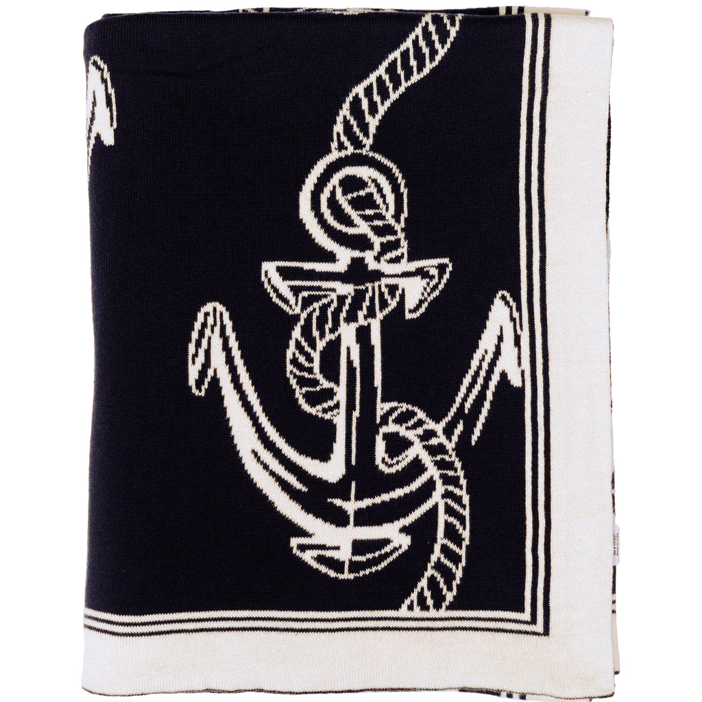 Navy Rope and Anchor Throw - Chesapeake Bay Goods