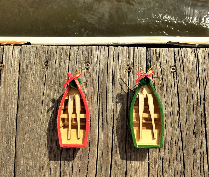 Row Boat Nautical Christmas Ornaments, Set of 2