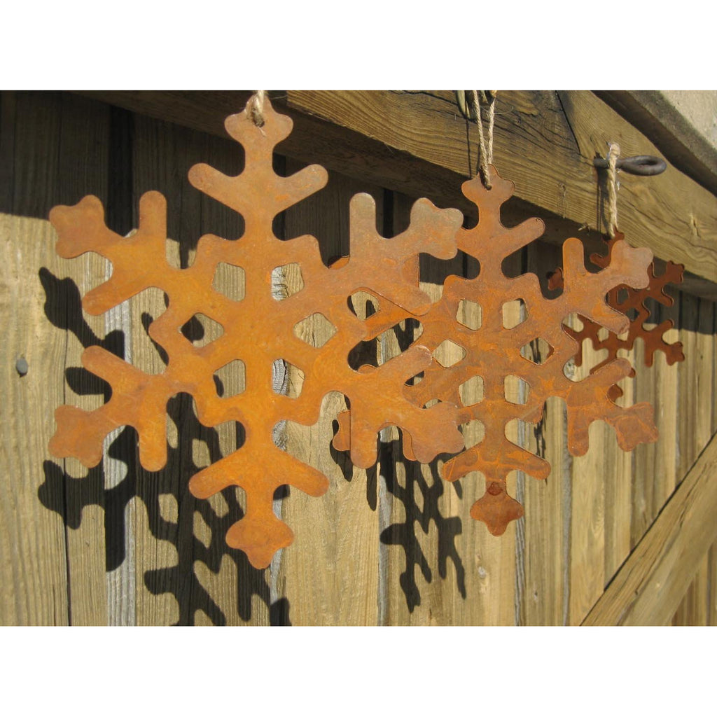 Large Metal Snowflakes Rust Colored Set of 3 - Chesapeake Bay Goods