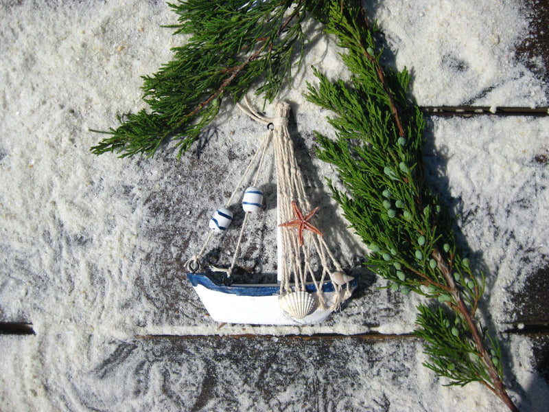 Nautical Wooden Blue and White Sailboat Christmas Ornaments - Chesapeake Bay Goods