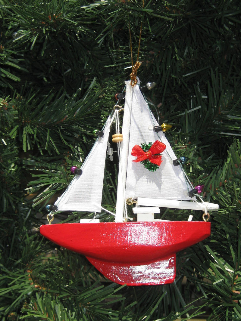 Nautical Red Sailboat Christmas Ornament Chesapeake Bay Good