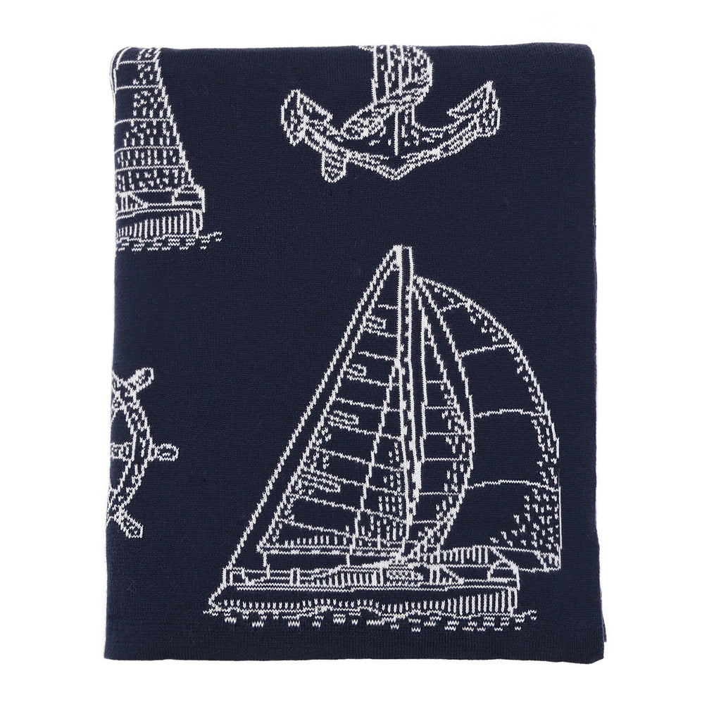 Navy Sailboats Knit Throw - Chesapeake Bay Goods