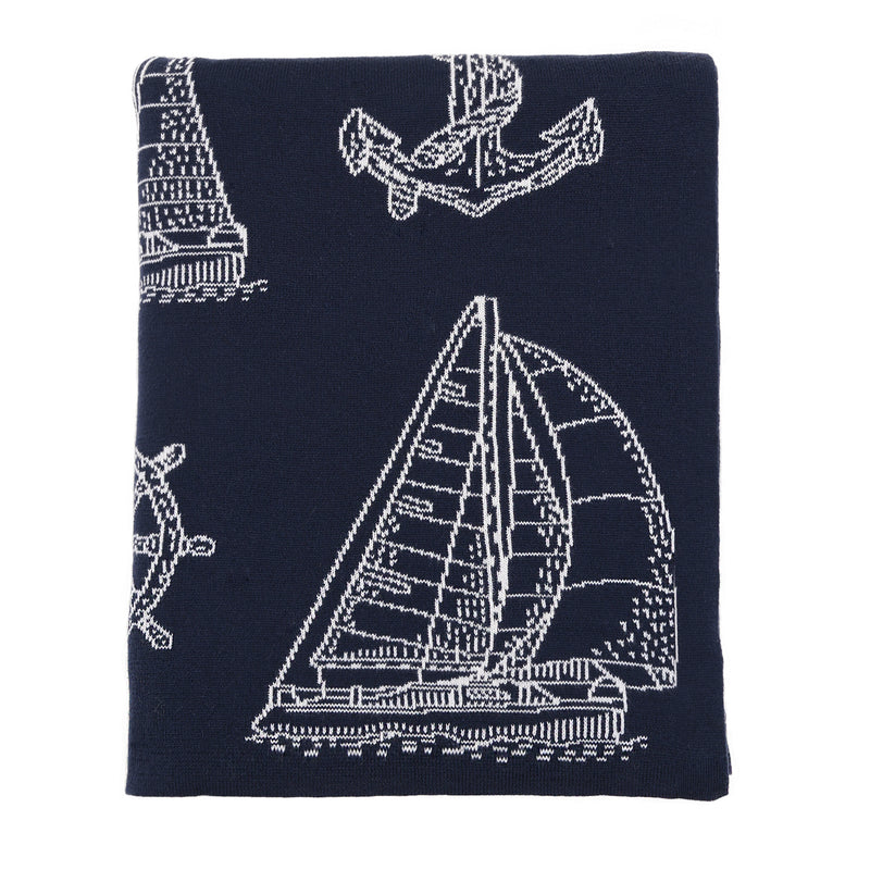 Seaford Cotton Throw (Grey and Ivory)