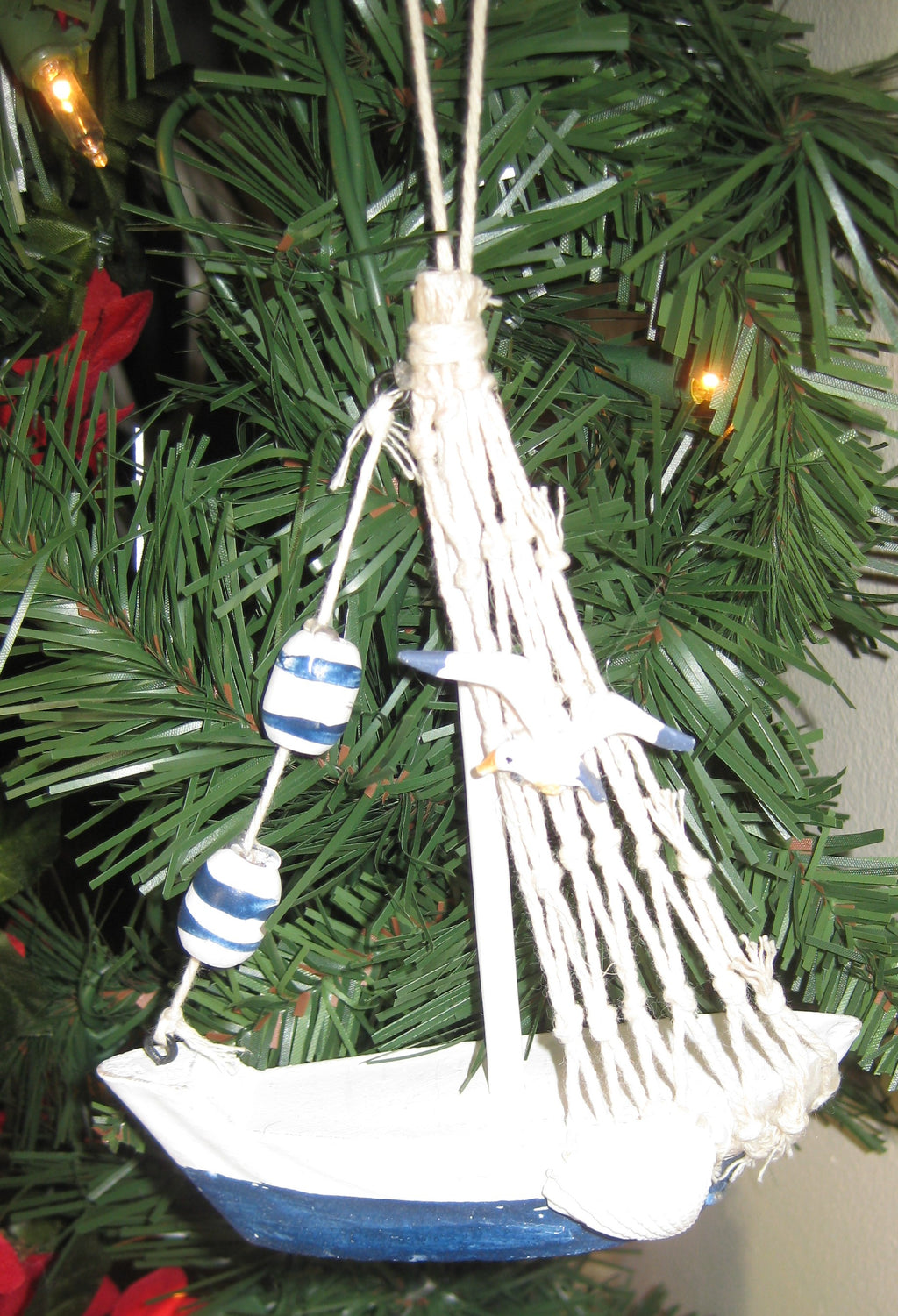 Wooden Blue and White Sailboat Ornaments (Set of 2)