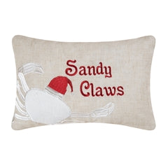 Sandy Claws Small Decorative Holiday Pillow Chesapeake Bay Goods