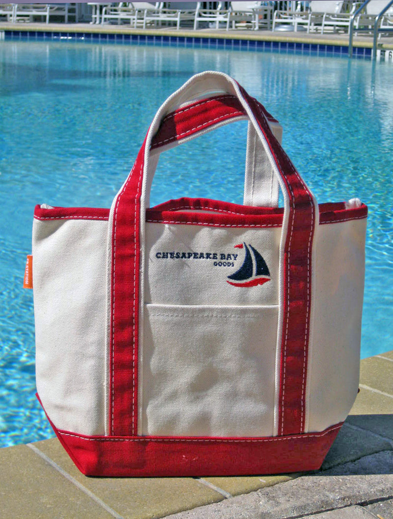 Small Red Canvas Tote Chesapeake Bay Goods