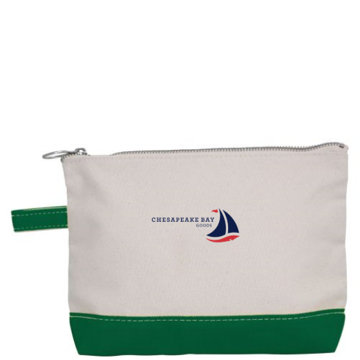 Small Canvas Geen Zipper Pouch - Chesapeake Bay Goods