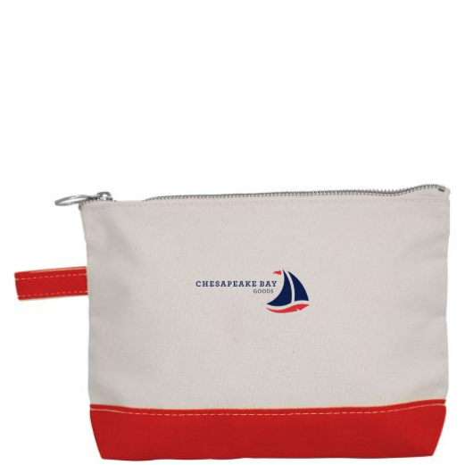 Small Red Canvas Zipper Pouch - Chesapeake Bay Goods