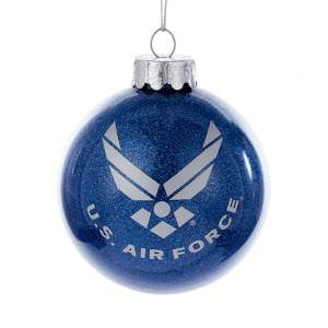 "US Air Force™ ""Aim High"" Glass Ball Christmas Ornament - Chesapeake Bay Goods"