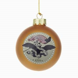 "US Army™ ""Army Strong"" Gold Glass Ball Christmas Ornament - Chesapeake Bay Goods"