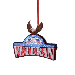 US Veterans Plaque with Eagle Glass Christmas Ornament - Chesapeake Bay Goods