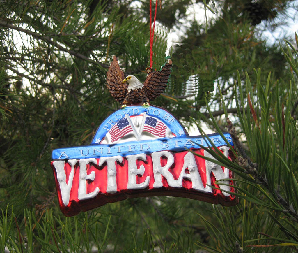 U.S. Veterans Plaque with Eagle Glass Christmas Ornament