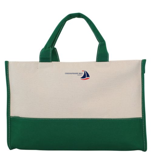 Green Colorblock Canvas Carry Tote - Chesapeake Bay Goods
