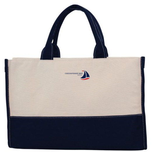 Navy Colorblock Rectangular Canvas Carry Tote - Chesapeake Bay Goods