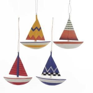 Nautical Sailboat Christmas Ornament Red Green Blue Yellow