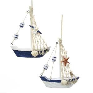 Nautical Sailboat Christmas Ornament with Decorations on Sail