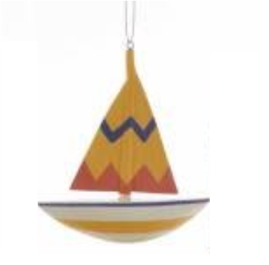 Wooden Nautical Sailboat Ornaments, 4 Assorted Multicolored (Sold Separatly)