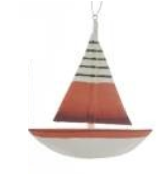 Wooden Nautical Sailboat Christmas Ornaments - Sold Separately