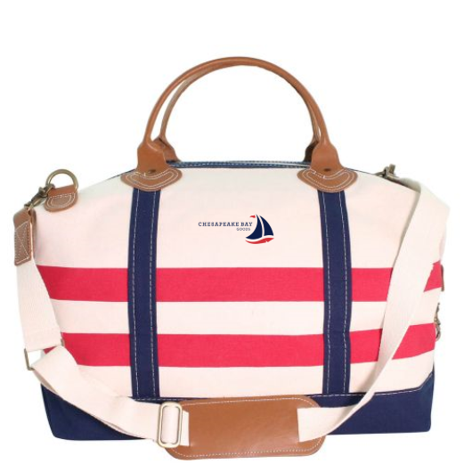 Red, White, Blue Striped Canvas Weekender Tote Bag - Chesapeake Bay Goodsf
