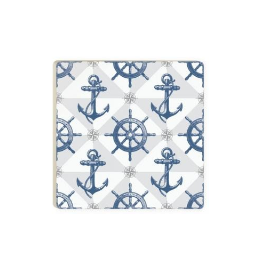 Anchors and Ship Wheel Ceramic Coaster Singles