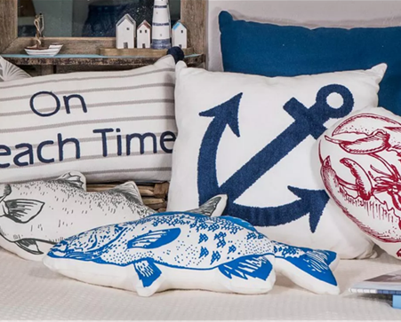 Nautical White Cotton Pillow with Embroidered Anchor