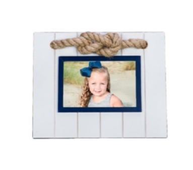 Nautical Photo Frame - White & Blue Frame with Rope Accent Chesapeake Bay Goods