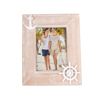 Nautical Wood Anchor and Ship Wheel Picture Frame - Chesapeake Bay Goods