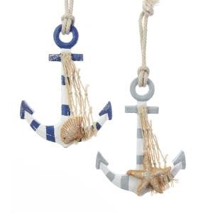 Nautical Wood Anchor Christmas Ornaments