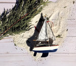 Yacht Sailboat Trio With 2 Sails Christmas Ornaments - Sold as Trio