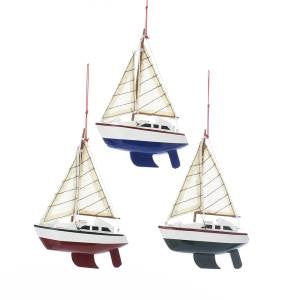 Yacht Sailboat Trio With 2 Sails Ornaments, 3 Assorted Colors (Sold as Trio)
