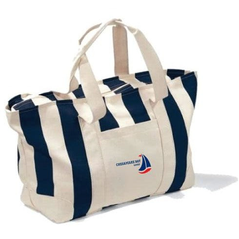 Large Striped Beach Canvas Tote - Chesapeake Bay Goods