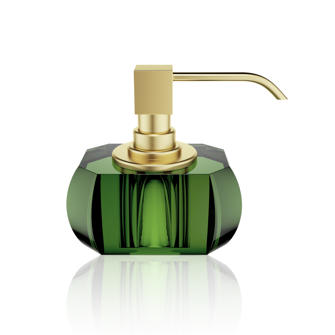 Kristall Soap Dispenser- English Green/Matt Gold