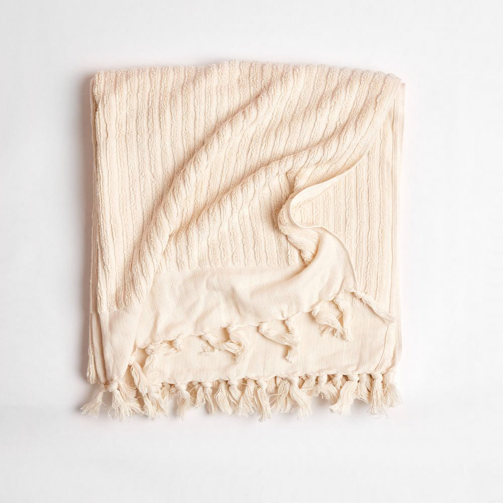 Wanderer Bath Towel- Stripe Natural