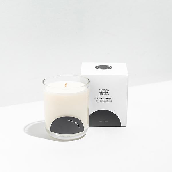 Teak & Neroli Glass Candle